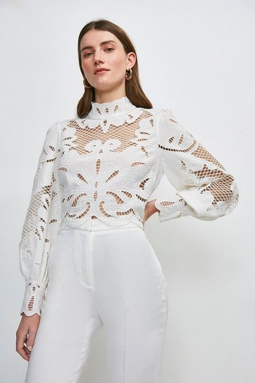 Ivory Cutwork Volume Sleeve Top