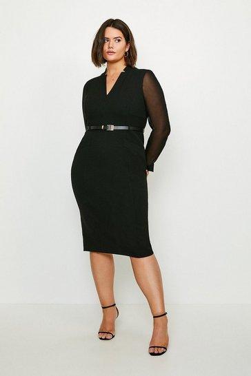 Black Curve Sheer Sleeve Forever Dress