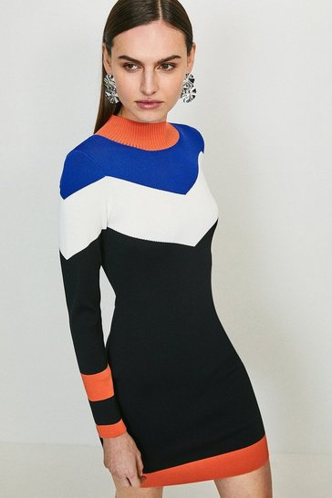 Black Bold Colour Block Knit Dress
