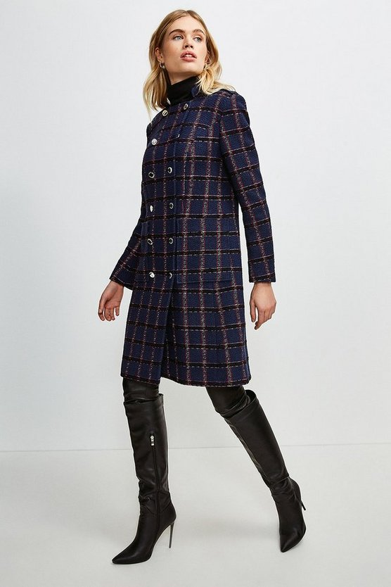 Navy Italian Tweed Military Double Breasted Coat