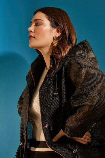 Black Curve Luxe Organza Parka Coat