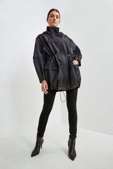 Black Luxe Organza Parka Coat