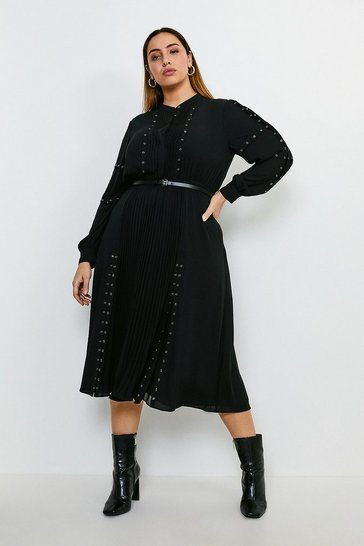 Black Curve Pintuck and Eyelet Detail Dress