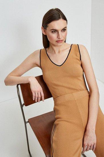 Camel Stripe Trim Milano Knit Vest