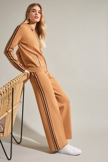 Camel Stripe Trim Milano Knit Trouser