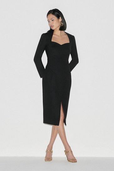 Black Label Italian Stretch Wool Sleeved Dress