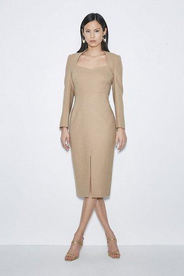 Camel Black Label Italian Stretch Wool Sleeved Dress