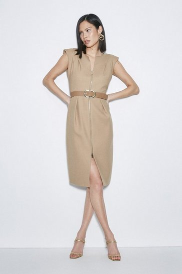 Camel Black Label Italian Stretch Wool Zip Dress