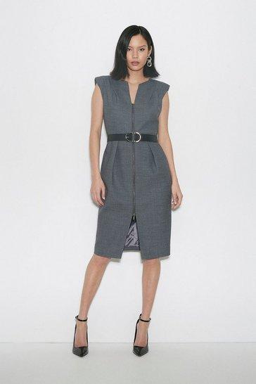Grey Black Label Italian Stretch Wool Zip Dress