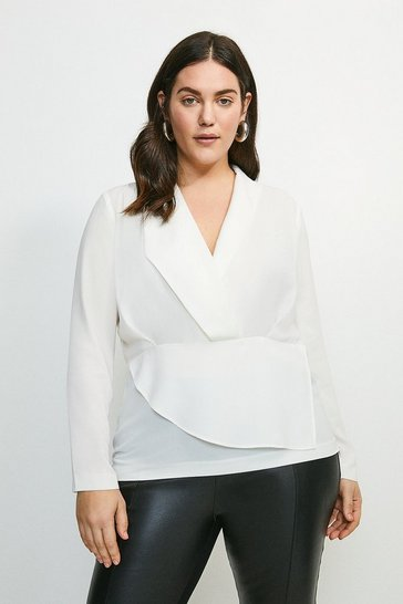 Ivory Curve Drape Long Sleeve Top