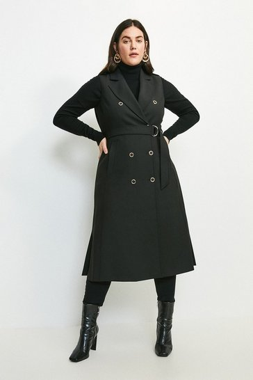 Black Curve Compact Stretch Sleeveless Coat