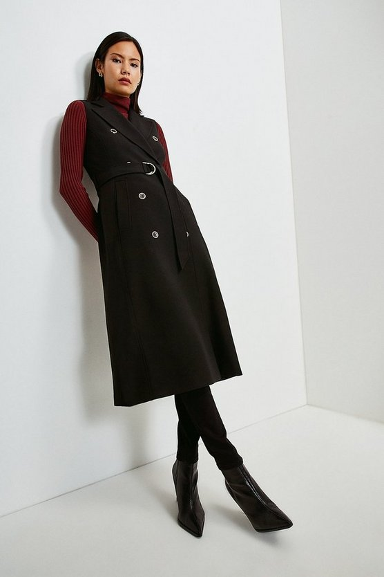Black Compact Stretch Sleeveless Coat