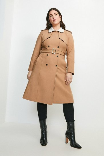 Natural Curve Compact Stretch Contrast Trench Coat