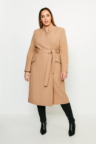 Camel Curve Compact Stretch Notch Neck Belted Coat