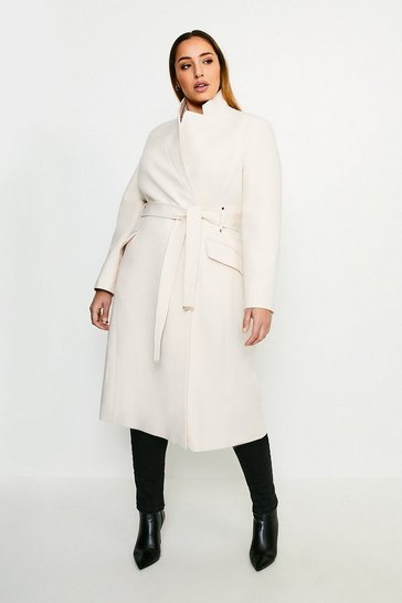 Cream Curve Compact Stretch Notch Neck Belted Coat