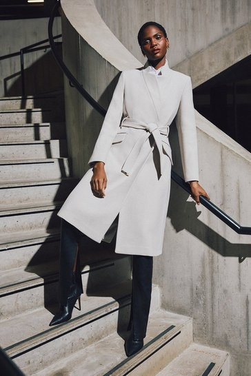 Cream Compact Stretch Notch Neck Belted Coat