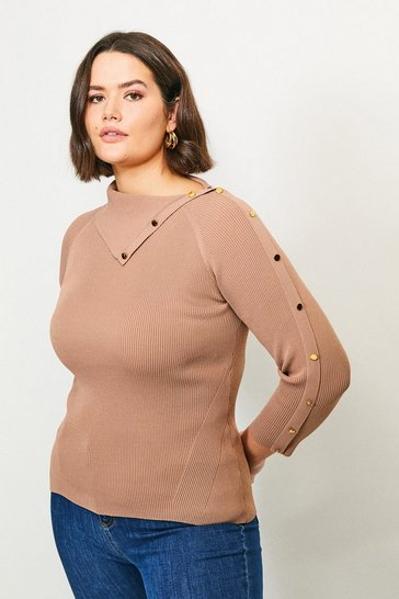 Brown Curve Ribbed Popper Detail Split Neck Jumper