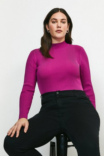 Fuchsia Curve Long Sleeve Rib Funnel Neck
