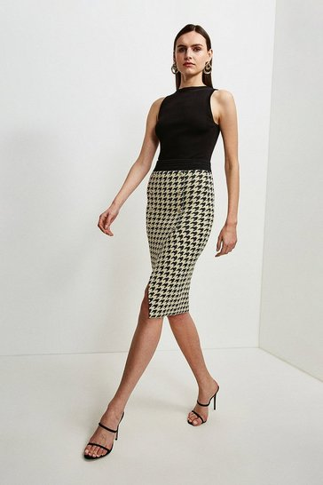 Cream Texture Houndstooth Knit Skirt