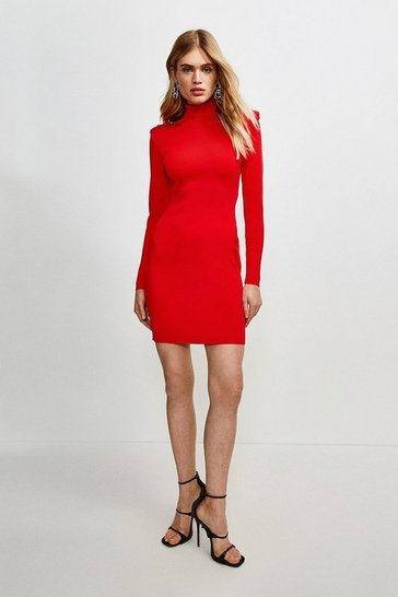 Red Tuck Shoulder Roll Neck Dress