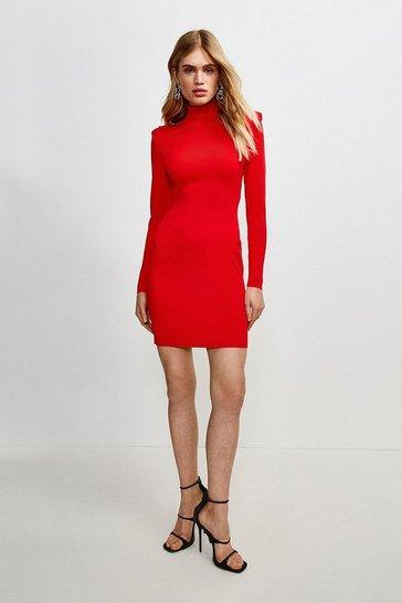 Red Tuck Shoulder Roll Neck Dress
