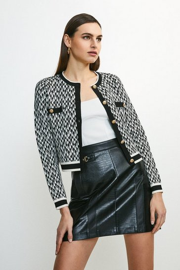 Blackwhite Graphic Jacquard Knit Jacket