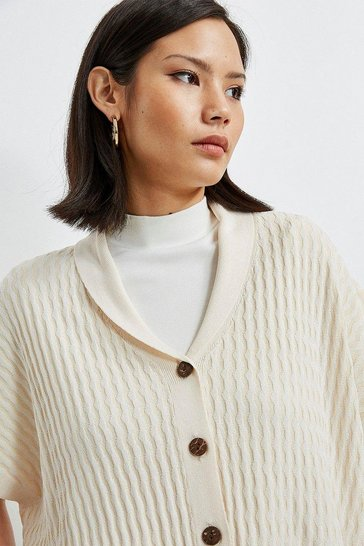 Ivory Stitch Button Through Jumper