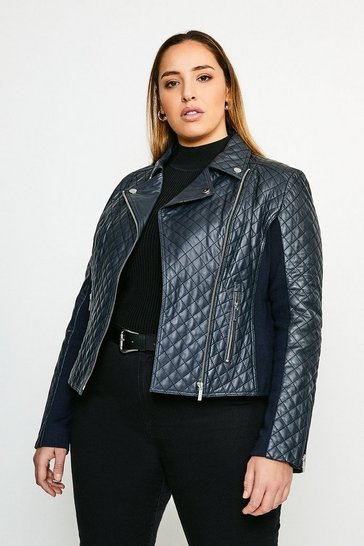 Navy Curve Leather Quilted And Knit Panel Biker Jacket
