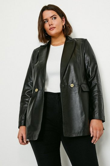 Black Curve Leather Fitted Double Breasted Jacket