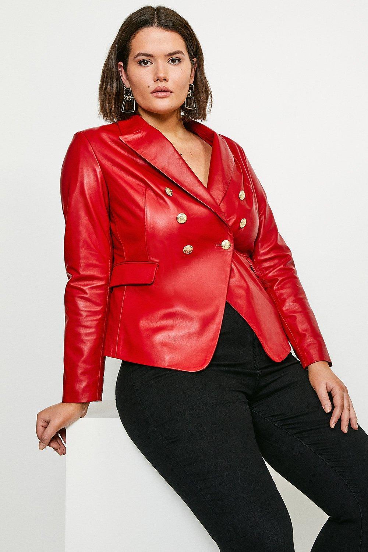 Karen Millen Curve Leather Button Blazer -, Red