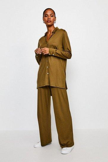 Khaki Lyocell Super Soft Lounge Wide Leg Trousers