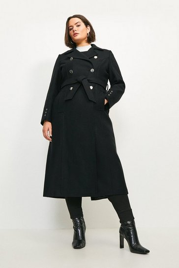 Black Curve Military Button Belted Maxi Coat