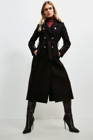 Black Military Button Belted Maxi Coat