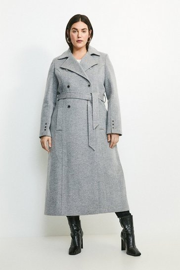 Grey Curve Military Button Belted Maxi Coat