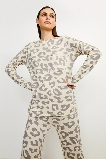 Lounge Animal Print Pocket Jersey Top