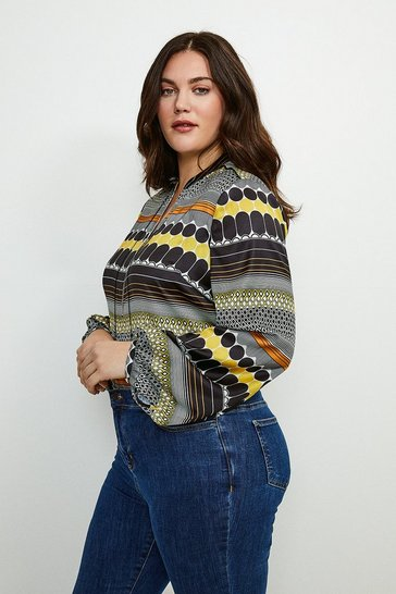 Yellow Curve Geo Stripe Zip Detail Blouse