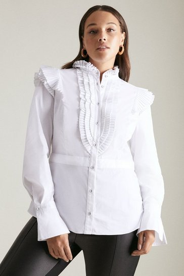 White Curve Long Sleeve Pleated Ruffle Shirt