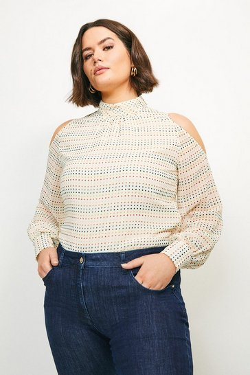 Ivory Curve Cold Shoulder Spot Top