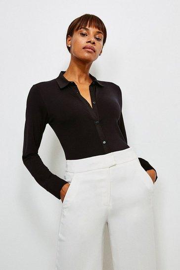 Black Woven Viscose Jersey Elastane Shirt
