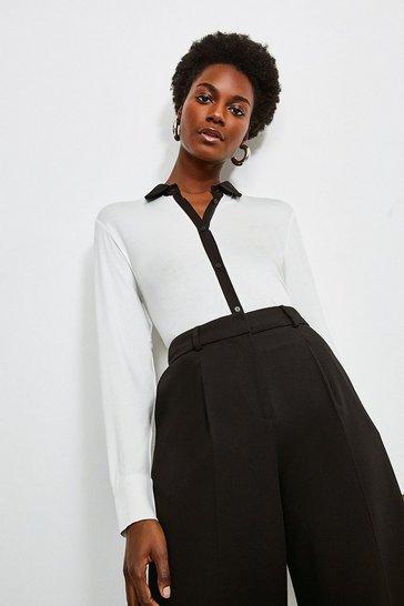 Ivory Woven Viscose Jersey Elastane Shirt