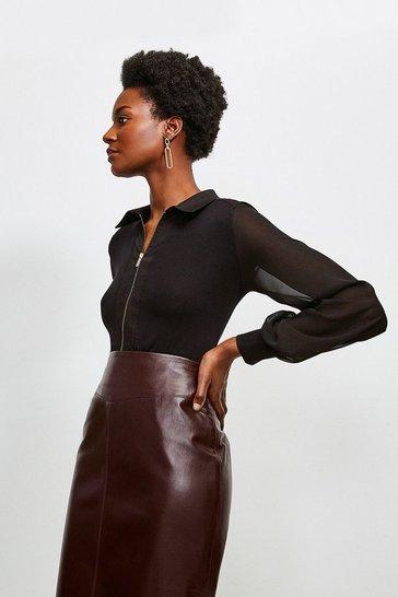 Black Collared Viscose Jersey Elastane Shirt