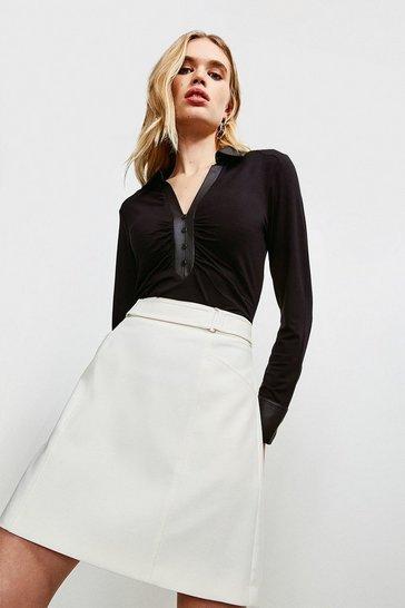 Black Satin Contrast Viscose Jersey Elastane Shirt