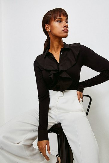 Black Ruffle Woven Viscose Jersey Elastane Shirt