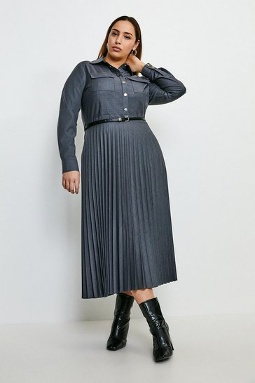 Pale grey Curve Polished Stretch Wool Blend Shirt Dress