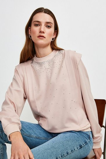 Blush Lounge Diamante Jersey Sweatshirt