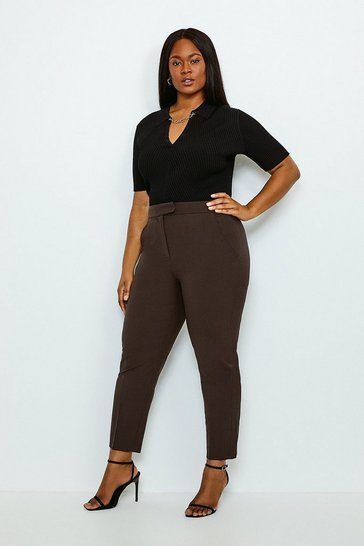 Chocolate Curve Polished Stretch Wool Blend Trousers