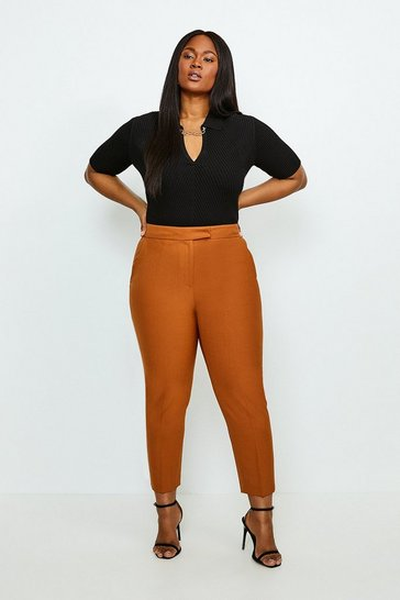 Tan Curve Polished Stretch Wool Blend Trousers