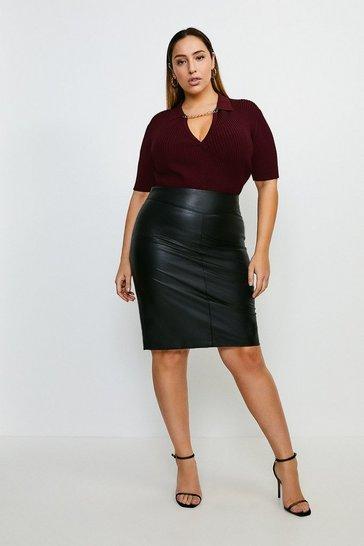 Black Curve Faux Leather Pencil Skirt