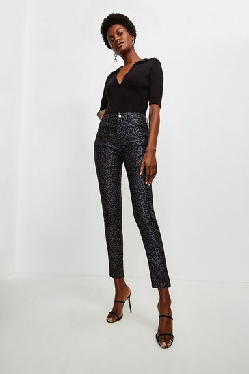 Black Animal Jacquard Skinny Jean