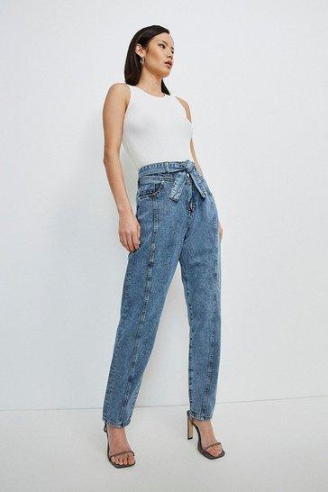 Indigo Seamed Belted Jean